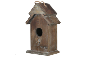 UTC23813 Wood Rectangle Bird House on Base with Top Rope Hanger, Double Roof Design and Front Perch Weathered Finish Brown