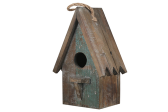 UTC23814 Wood Rectangle Bird House with Top Rope Hanger, Sawtooth Edges Roof Design and Front Ledge Weathered Finish Brown