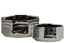 UTC24635 Ceramic Octagonal Pot Set of Two Polished Chrome Finish Silver