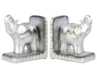 UTC24834-AST Resin Standing Trumpeting Elephant with Blanket Bookend on Base Assortment of Two Painted Finish Silver