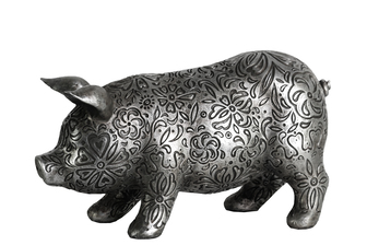UTC24875 Resin Standing Pig Figurine with Engraved Floral Design SM Metallic Finish Silver