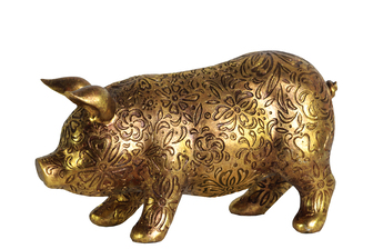 UTC24876 Resin Standing Pig Figurine with Engraved Floral Design SM Metallic Finish Gold