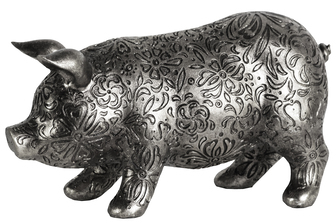 UTC24877 Resin Standing Pig Figurine with Engraved Floral Design LG Metallic Finish Silver