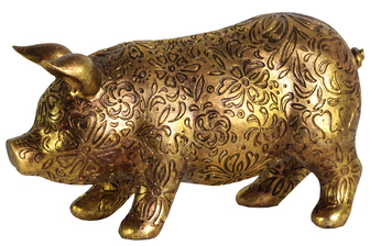 UTC24878 Resin Standing Pig Figurine with Engraved Floral Design LG Metallic Finish Gold