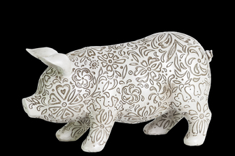 UTC24879 Resin Standing Pig Figurine with Engraved Floral Design SM Matte Finish White