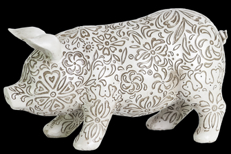 UTC24880 Resin Standing Pig Figurine with Engraved Floral Design LG Matte Finish White