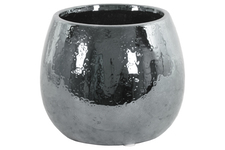UTC25015 Ceramic Round Vase Hammered Polished Chrome Finish Silver
