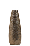 UTC25019 Ceramic Oval Vase with Recessed Lip and Pimpled Design Body SM Polished Chrome Finish Copper