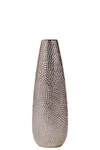 UTC25020 Ceramic Oval Vase with Recessed Lip and Pimpled Design Body SM Polished Chrome Finish Silver