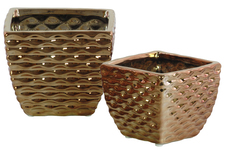 UTC25027 Ceramic Square Vase with Embossed Wave Design Body and Tapered Bottom Set of Two Polished Chrome Finish Copper