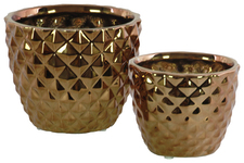 UTC25031 Ceramic Round Vase with Engraved Diamond Design Body and Tapered Bottom Set of Two Polished Chrome Finish Copper