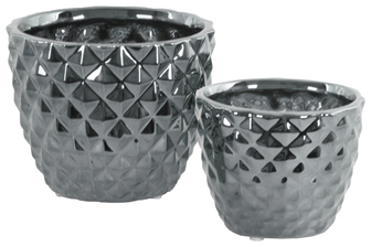 UTC25032 Ceramic Round Vase with Engraved Diamond Design Body and Tapered Bottom Set of Two Polished Chrome Finish Silver