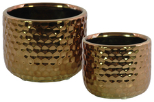 UTC25035 Ceramic Round Vase with Engraved Diamond Design Body Set of Two Polished Chrome Finish Copper