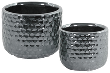 UTC25036 Ceramic Round Vase with Engraved Diamond Design Body Set of Two Polished Chrome Finish Silver