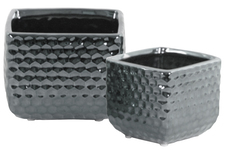 UTC25038 Ceramic Square Vase with Engraved Diamond Design Body Set of Two Polished Chrome Finish Silver