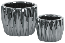 UTC25040 Ceramic Round Pattern Vase with Triangle Design Lips and Tapered Bottom Set of Two Polished Chrome Finish Silver