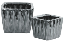 UTC25042 Ceramic Square Pattern Vase with Triangle Design Lips and Tapered Bottom Set of Two Polished Chrome Finish Silver