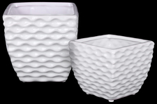 UTC25043 Ceramic Square Vase with Embossed Wave Design Body and Tapered Bottom Set of Two Gloss Finish White