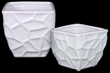 UTC25044 Ceramic Square Vase with Embossed Irregular Shapes Design Body and Tapered Bottom Set of Two Gloss Finish White