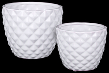 UTC25045 Ceramic Round Vase with Engraved Diamond Design Body and Tapered Bottom Set of Two Gloss Finish White