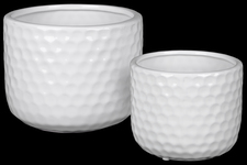 UTC25046 Ceramic Round Vase with Engraved Circle Design Body Set of Two Gloss Finish White