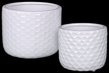UTC25047 Ceramic Round Vase with Engraved Diamond Design Body Set of Two Gloss Finish White
