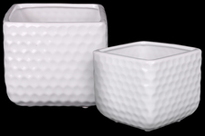 UTC25048 Ceramic Square Vase with Engraved Diamond Design Body Set of Two Gloss Finish White