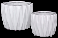 UTC25049 Ceramic Round Pattern Vase with Triangle Design Lip Set of Two Gloss Finish White