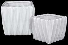 UTC25050 Ceramic Square Pattern Vase with Triangle Design Lip Set of Two Gloss Finish White