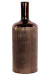 UTC25059 Ceramic Round Bottle Vase with Engraved Criss Cross Designed Body and Smooth Neck LG Polished Chrome Finish Copper
