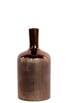UTC25060 Ceramic Round Bottle Vase with Engraved Criss Cross Designed Body and Smooth Neck MD Polished Chrome Finish Copper
