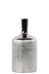 UTC25063 Ceramic Round Bottle Vase with Engraved Criss Cross Designed Body and Smooth Neck MD Polished Chrome Finish Silver
