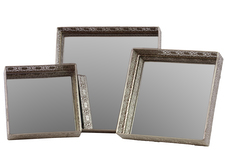 UTC25400 Metal Square Tray with Mirror Surface and Elevated Pierced Metal Sides Set of Three Polished Chrome Finish Silver