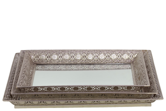 UTC25401 Metal Square Trays with Pierced Metal Frame and Mirror Surface Set of Three Electroplated Finish Silver