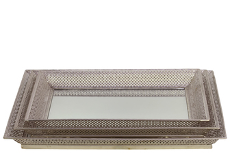 UTC25402 Metal Rectangular Tray with Mirror Surface and Pierced Metal Sides Set of Three Polished Chrome Finish Silver