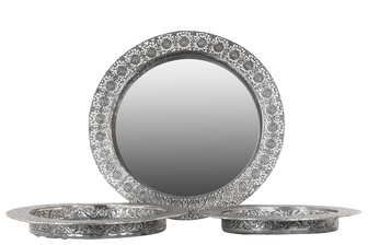 UTC25404 Metal Round Tray with Mirror Surface with Pierced Metal Finish Set of Three Electroplated Finish Silver