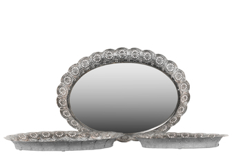UTC25405 Metal Oval Tray with Mirror Surface and Pierced Metal Frame Set of Three Electroplated Finish Silver
