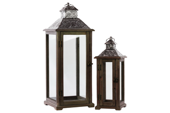 UTC25406 Wood Square Lantern with Silver Pierced Metal Top, Ring Hanger and Glass Windows Set of Two Stained Wood Finish Brown