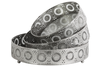 UTC25415 Metal Round Tray with Mirror Surface and Sunburst Design Pierced Metal Sides Set of Three Polished Chrome Finish Silver