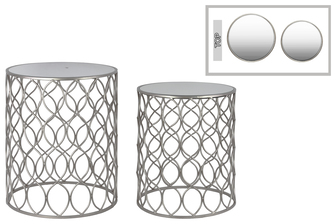 UTC25812 Metal Round Nesting Table with Mirror Top Circle Lattice Design and Round Base Set of Two Metallic Finish Silver
