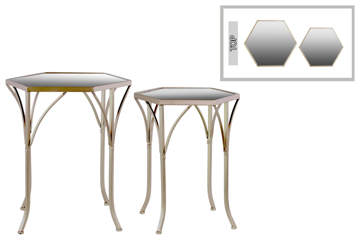 UTC25815 Metal Hexagonal Nesting Table with Mirror Top and 4 Cabriole Legs Set of Two Metallic Finish Champagne
