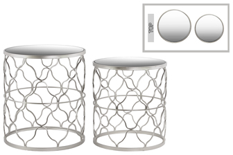 UTC25818 Metal Round Nesting Table with Mirror Top, Quatrefoil Lattice Design and Round Base Set of Two Metallic Finish Silver