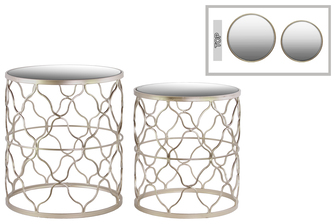 UTC25819 Metal Round Nesting Table with Mirror Top, Quatrefoil Lattice Design and Round Base Set of Two Metallic Finish Champagne