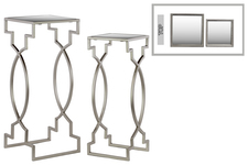 UTC25826 Metal Square Nesting Table with Mirror Top Set of Two Metallic FInish Silver