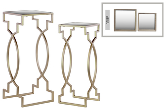 UTC25827 Metal Square Nesting Table with Mirror Top Set of Two Metallic FInish Champagne