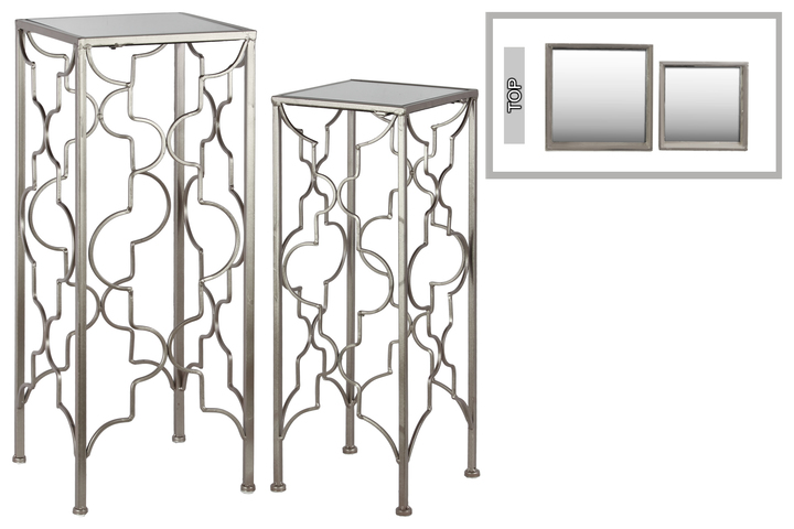 UTC25835 Metal Accent Table with Mirror Top and Square Base Set of Two Metallic FInish Silver