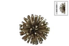 UTC25847 Metal Ball of Looped Ribbon Sculpture Wall Decor SM Electroplated Finish Champagne