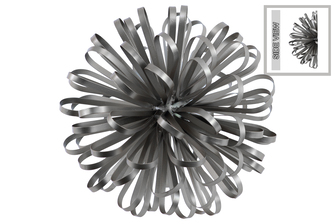UTC25848 Metal Ball of Looped Ribbon Sculpture Wall Decor LG Electroplated Finish Silver