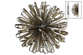 UTC25849 Metal Ball of Looped Ribbon Sculpture Wall Decor LG Electroplated Finish Champagne