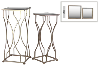 UTC25876 Metal Accent Table with Mirror Top and Square Base Set of Two Coated Finish Champagne